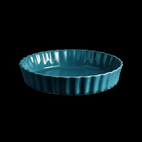 Emile Henry kerek mély quiche kerámia sütőforma 24 cm mediterrán kék