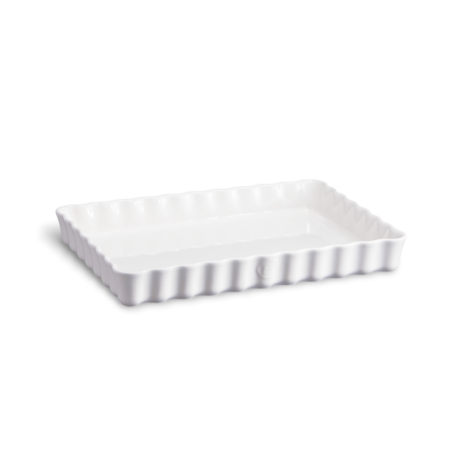 Emile Henry kerámia szögletes téglalap tart sütőforma (deep) fehér