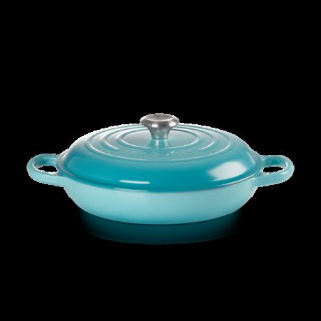 Le Creuset öntöttvas alacsony főzőedény braiser 30 cm karibi kék