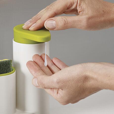 SinkBase műanyag mosogatószer és tisztítóeszköz tároló (fehér/zöld)