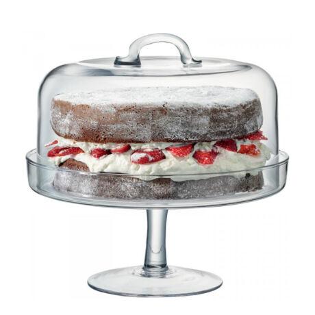 Serve üveg talpas tortatál búrával (D:24 cm)