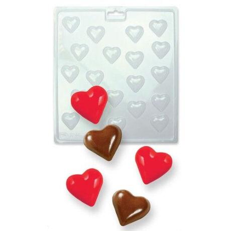 műanyag bonbon /pralinékészítő forma mini szívek CM404